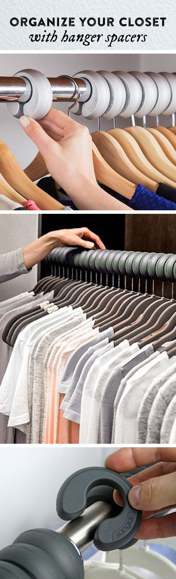 See how freed up your closet can be. These hanger spacers fit over your clothing rod, keeping clothing evenly spaced, unwrinkled, and organized.: