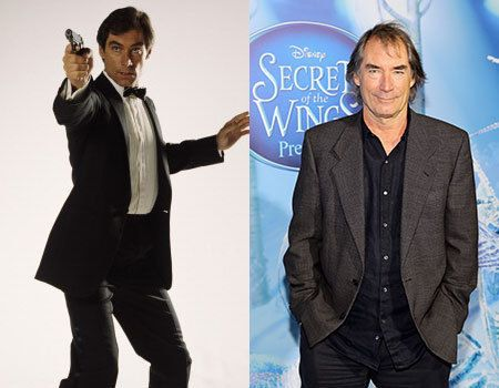 # Timothy Dalton's first James Bond film The Living Daylights was a critical success, and following his stint as James Bond he tried hard to find roles that weren't typecasting. Now he does a lot more voice over work for animated films, but has appeared in films such as Hot Fuzz and shows like Chuck.