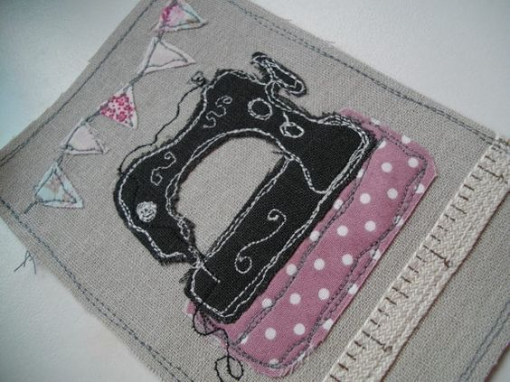 This a freehand machine embroidered card on linen using pretty Tilda fabrics and quality material.Each card is totally unique and no two cards