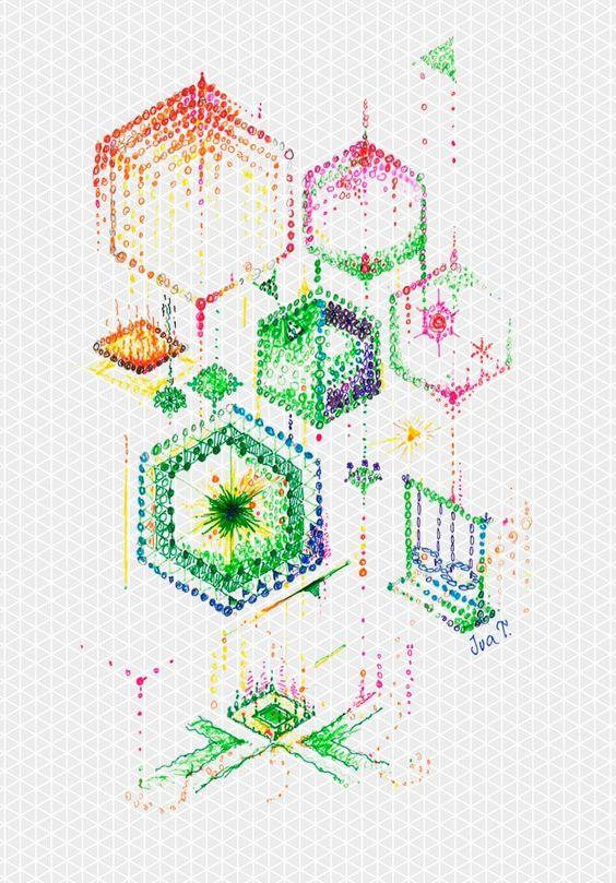 "Another beautiful way of using Whitelines Isometric paper. This one is from ""Eva T"". You'll find all our isometric products in our shop at http://tinyurl.com/7ryhqww  (and we have added the background in photoshop since the lines disappear when you copy or  scan  the paper)"