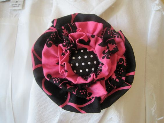 Flower Pin Hair Clip in Black and Shocking Pink by theraggedyrose, $15.00