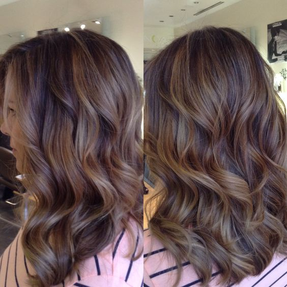 Balayage highlights creating a neutral light brown ombré. Hair by Danni Sjoden in Denver,