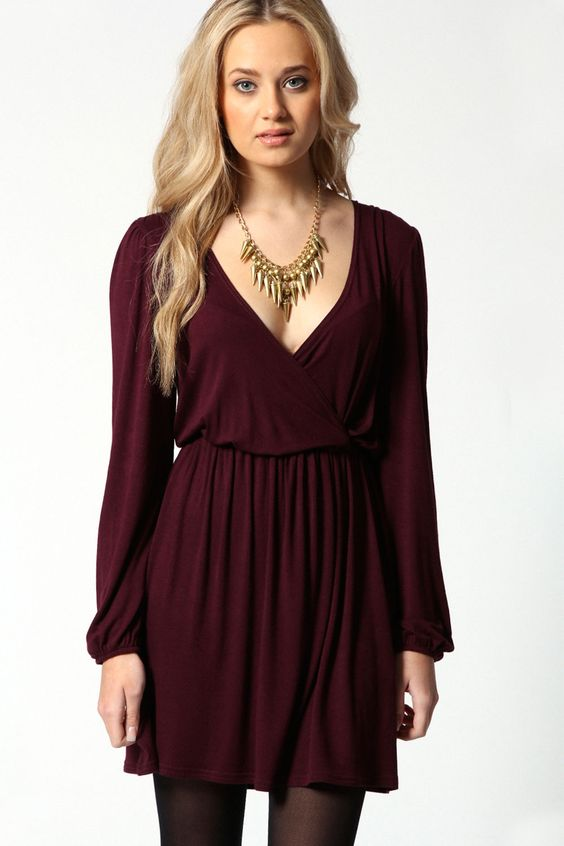 Boohoo Adriana Jersey Long Sleeve Wrap Dress   eBay