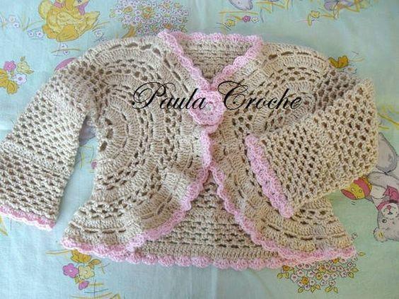 casaquinho de croche com linha 100 % algodao tamanhos 0 a 3 e 3 a 6 meses cores a critério do comprador R$ 40,00