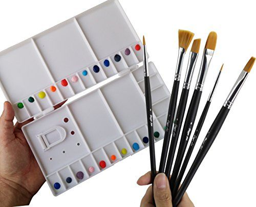 Watercolor Basic Set Large Folding Palette Box 6 Professional