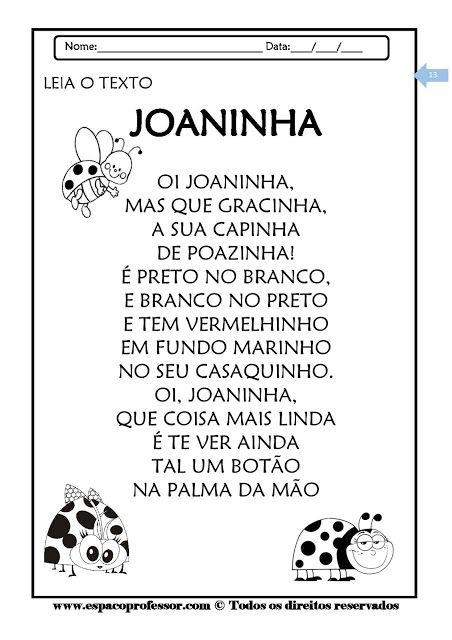 Texto Joaninha Com Atividades Para Alfabetizacao Atividades De
