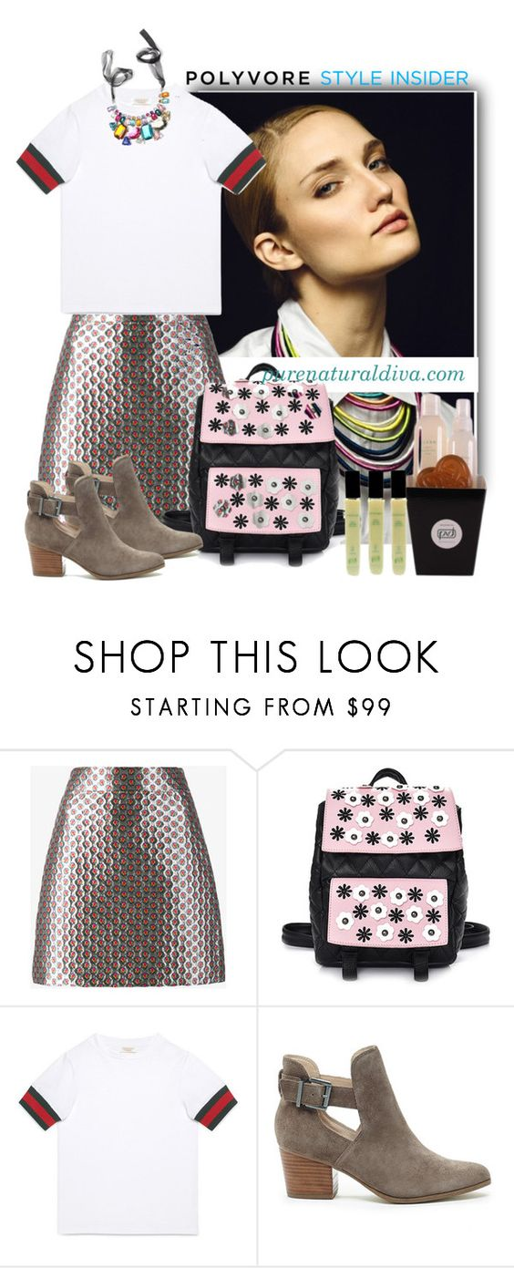 """""""Rule School: Cool Backpacks"""" by purenaturaldiva ❤ liked on Polyvore featuring Miu Miu, Gucci, Sole Society and Hostess"""