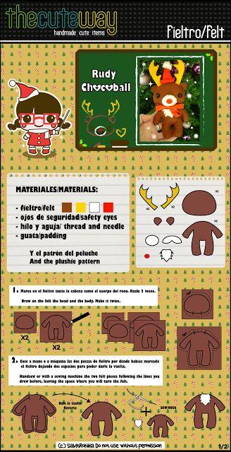 TheCuteWay: Tutorial-patrón reno navidad // Tutorial-pattern reindeer plushie
