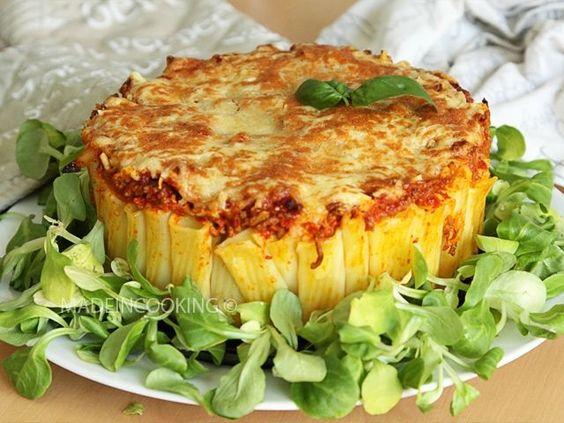 Tarte de rigatoni boeuf et sauce poivronade