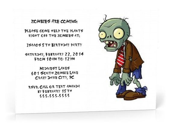 Plants vs. Zombies Birhday invitations