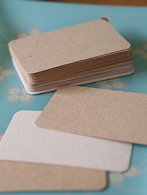 50 handmade manilla kraft brown business cards blanks recycled DIY save the date