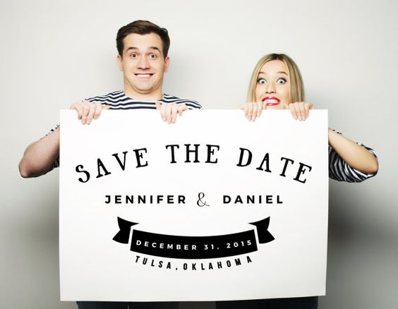 save the date decal engagement photo prop