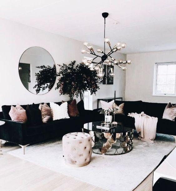 Black And Blush Pink Interior Design Decor Ideas In This Gorgeous Scandi Living Room Design Apartment Decor Living Room Designs Home Decor