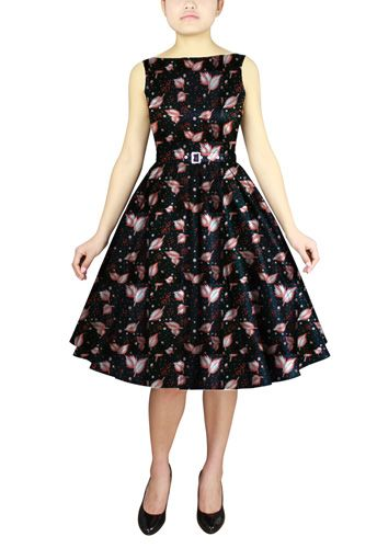 Printed Sleeveless Belted Dress