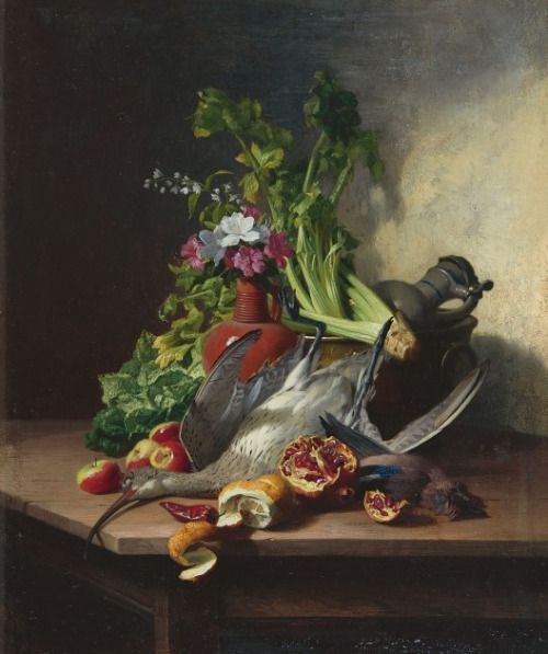 David Emile Joseph de Noter (1818-1892) - Still life with Curlew, a Jay, vegetable, fruit, flowers and earthenware jugs, oil on panel, 32.3 x 27.2 cm.: