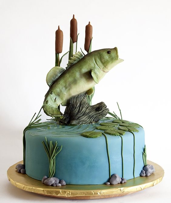 Bass Fish Cake the perfect groom's cake, but on flat sheet cake with Hooked 6-14-14: