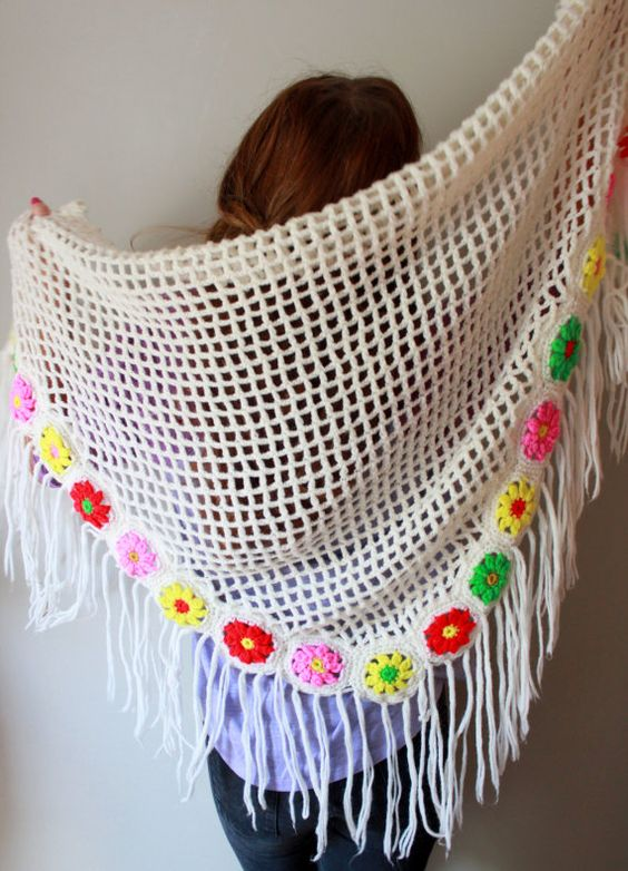 Vintage Floral Knit Crochet Fringe by MountainGirlClothing on Etsy