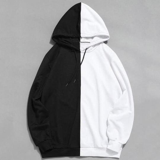 Men Hoodie Pullover Fashion Patchwork Long Sleeve Hip Hop Sweatshirt Outwear with Pocket
