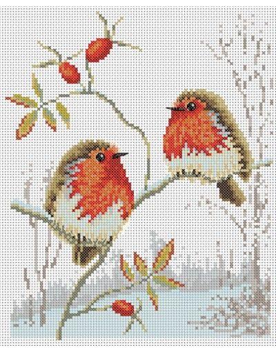 Winter Robins Cross Stitch Pattern