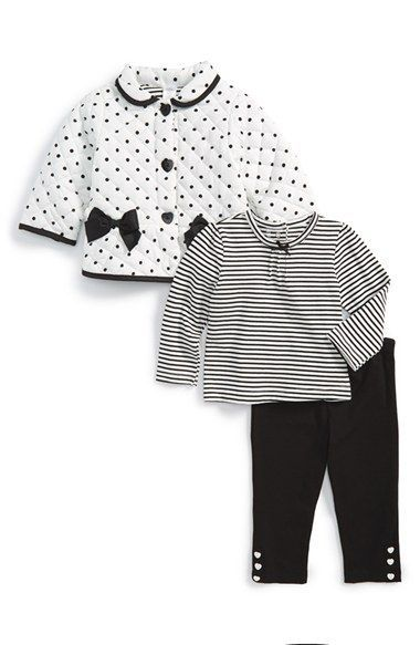 Little Me Quilted Jacket, Top & Leggings (Baby Girls) available at #Nordstrom