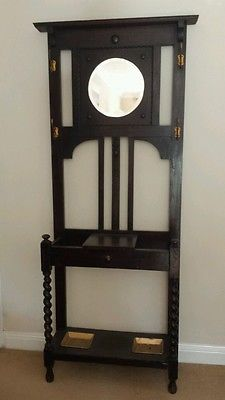 Antique Vintage Hat Coat Umbrella Hall Stand With Mirror