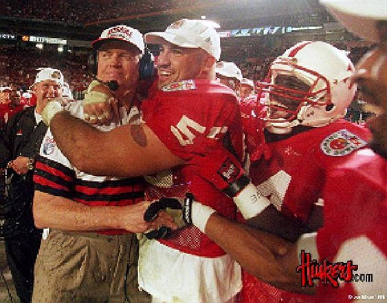 Champions-Jason Peter's arm around Coach Tom Osborne!: