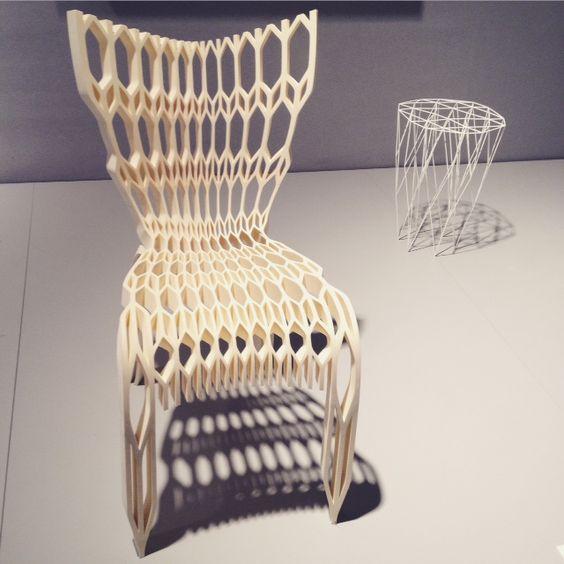 L'impression 3D à l'honneur sur l'espace Techno Made de Vincent Grégoire avec la chaise #71 et le tabouret CladStool signés In-Flexions /  Maison & Objet Paris 2015 / Yookô