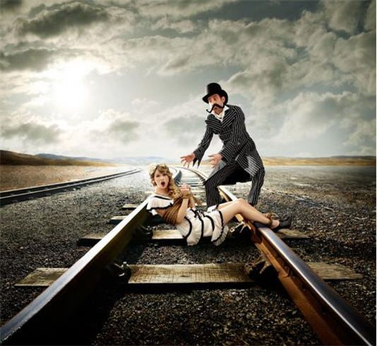 Image result for woman tied to railroad track