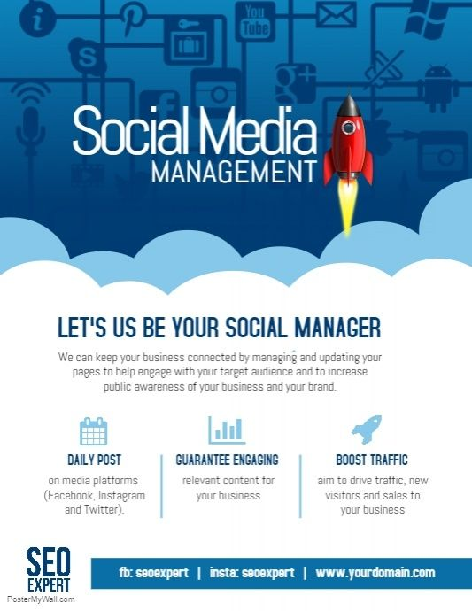 Social Media Marketing Management Company Poster Flyer With