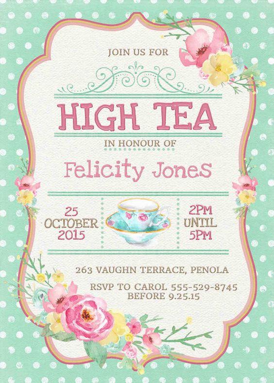 high tea invitation printable for bridal shower tea or. Black Bedroom Furniture Sets. Home Design Ideas