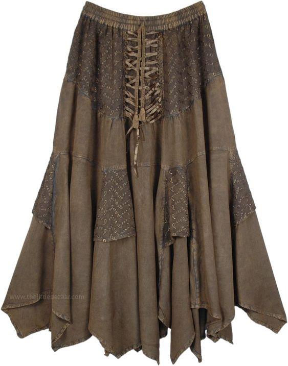 Tobacco Dark Green Middle Age Uneven Hem Skirt