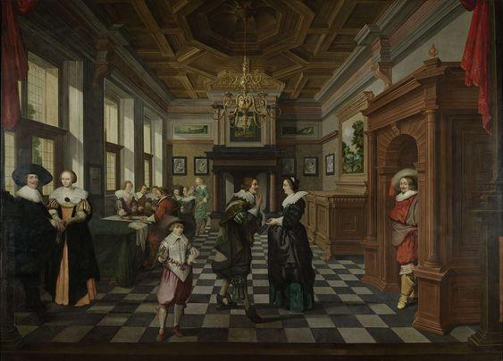 An Interior. One of a seven-part room decoration, Dirck van Delen, 1630 - 1632