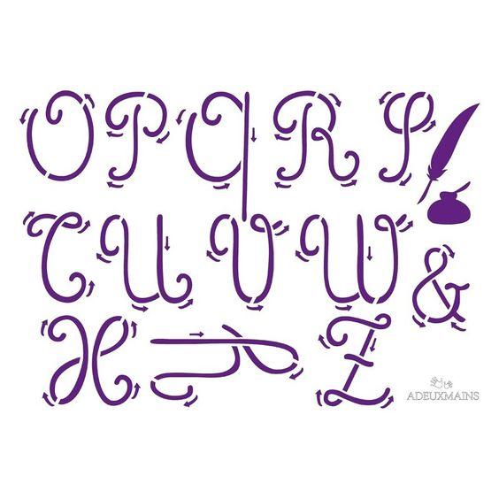 pochoir avec alphabet en lettres cursives minuscules Adeuxmains