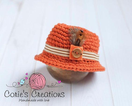 Newborn Crochet Fedora  phot prop newborn boy by CoriesCreations, $25.00