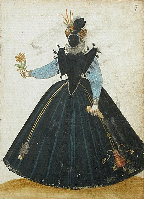 Album Amicorum of a German Soldier, 1595. Her purse looks just like the red silk velvet one LACMA has in its collection