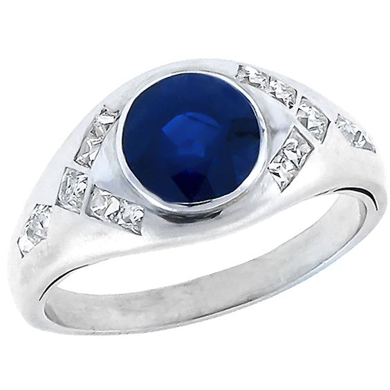 Vintage 3.00ct Round Cut Sapphire 0.50ct French Cut Diamond Platinum Ring - See more at: http://www.newyorkestatejewelry.com/rings/estate-3.00ct-sapphire-diamond-ring/23871/1/item#sthash.UTQfxJpf.dpuf