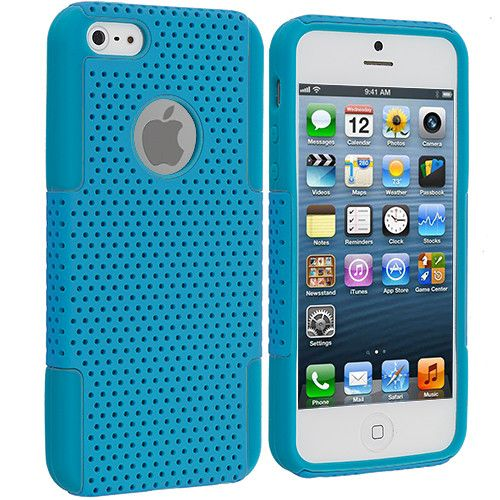 Baby Blue / Baby Blue Hybrid Mesh Hard Soft Silicone Case Cover for Apple iPhone 5 / 5S