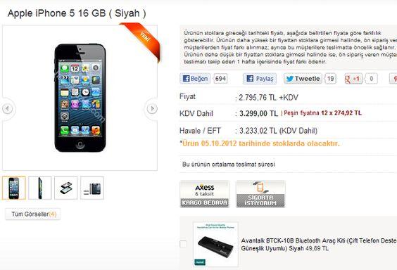iPhone 5 Türkiye'de ön siparişlere sunuldu.