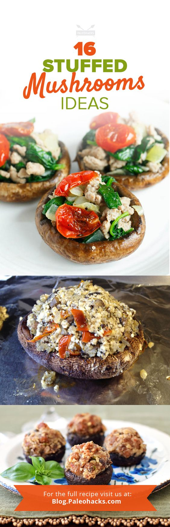 Stuffed mushrooms make for a warm, bite-sized treat or a full-on meal (hello, portabellas!) with loads of hearty flavor. For the full recipe compilation visit us here: http://paleo.co/16stuffedshrooms