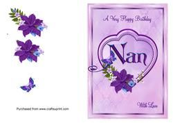 Nan Birthday Card with Big Heart and Flowers on Craftsuprint - View Now!