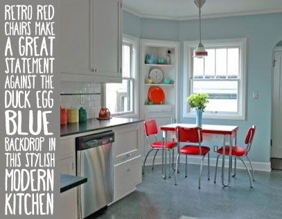 """Modern Duck Egg Blue Kitchen with Retro Red Chairs from MyKitchenAccessories' Guide, """"What Colours Go With Duck Egg Blue?"""" #DuckEggBlueKitchen #MyKitchenAccessories"""