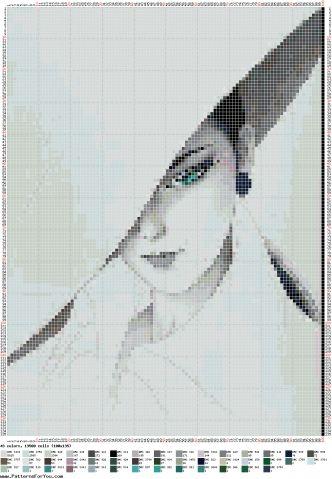 Sanatçının Muhteşem Japon kadın Ichiro Tsuruta / Nakış / Cross Stitch Düzenleri: