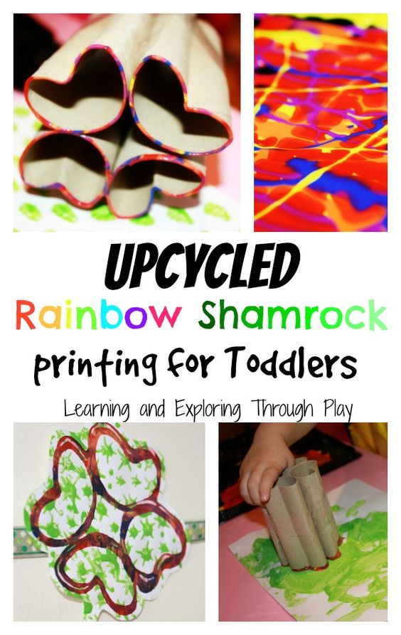 Shamrock printing for Toddlers. St Patricks Day. Upcycled Projects. Rainbow Paint. Learning and Exploring Through Play.