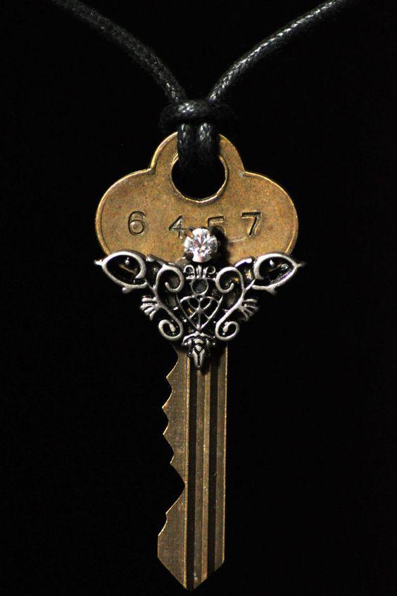 Key necklace embellished with vintage by RagsAndOldIron13 on Etsy