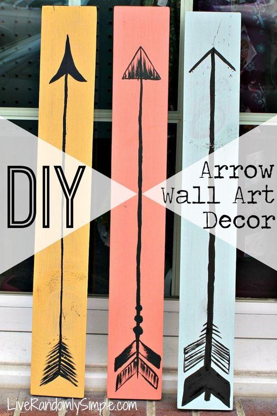 Diy bohemian wooden arrow wall art decor wood projects diy crafty home decor pinterest - Diy bohemian wall art ...