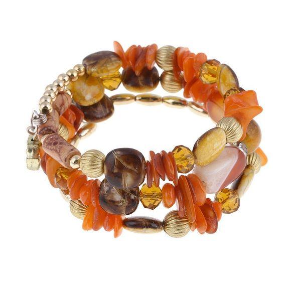 Orange Chalcedony Vintage Style Multi-Layer Bangle