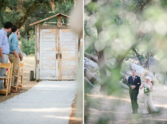"a way for my dress to not get destroyed on the dirt.. and a way to make a beautiful entrance through doors, creating a ""space"".  I kinda like this idea.  their rugged ceremony area is similar to what ours looks like."