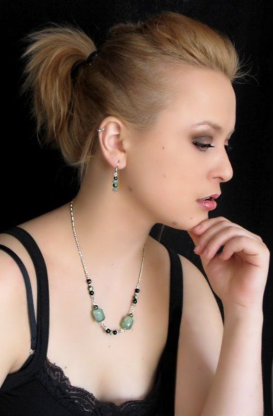 Now on Etsy ! Fine Jewelry | A little green necklace, Sterling silve and stones by Fleur du Luxe