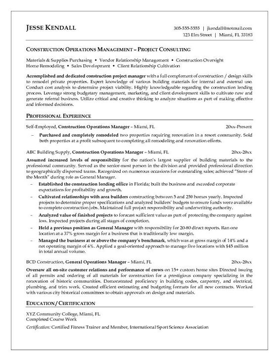construction operations specialist 2 resume