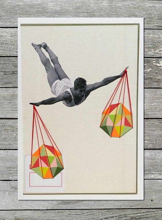 "Original hand embroidered collage: ""Balance"""
